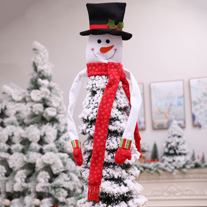 Hot Christmas Tree Toppers Snowman Hat ScarfBar Dance Christmas Tree Home Decor Holiday Supplies