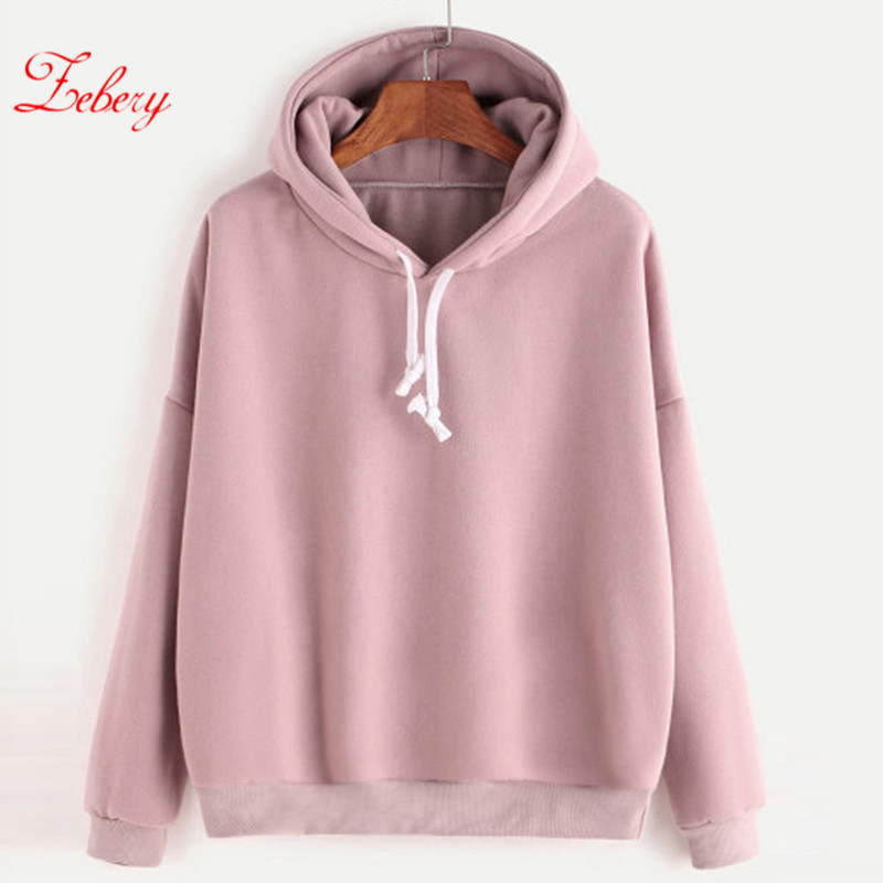 ZEBERY 2019 Women's Fashion Long-sleeved Solid Color Hooded Top Sweatshirt Autumn Warm Sweatshirt Pullover Tops Dropshipping