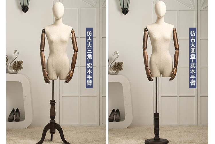 High GOOD quality props female half body mannequin vintage wood base women fabric mannequin with wooden arms standing mannequin