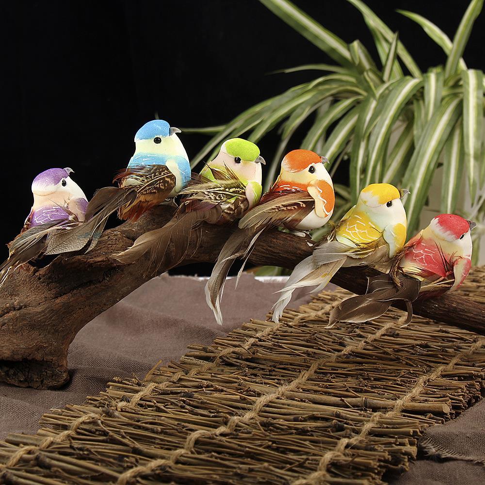 Vindingrijk 12 Pcs Kunstmatige Simulatie Vogel Mini Papegaai Vogel Props Handgemaakte Ultra Lichtgewicht Papegaai Voor Thuis Slaapkamer Fairy Gardendecor
