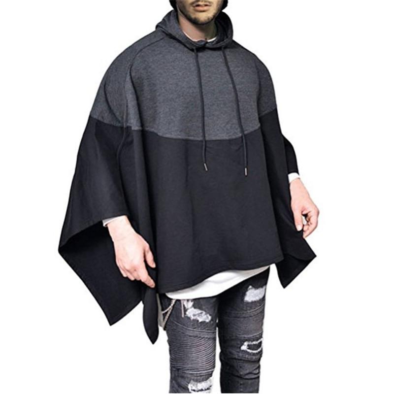 Casual Party Hoodie Mens Hip Hop Stitching Splice Sweatshirts Pullover Irregular Hem Poncho Cape Cloak Male Hooded Streetwear
