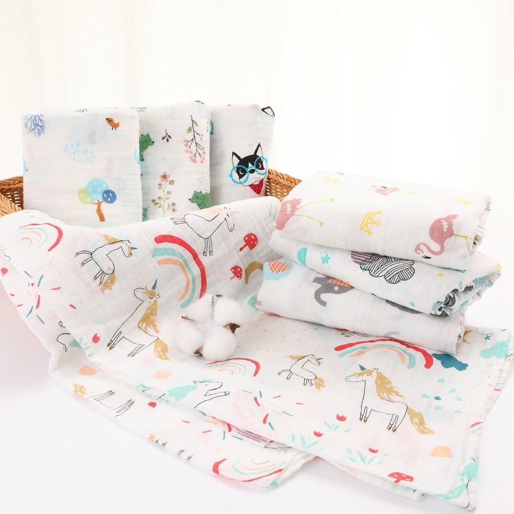 Muslin 100% Cotton Baby Swaddles Soft Newborn Blankets Bath Gauze Infant Wrap Sleepsack Stroller Cover Play Mat Baby Deken