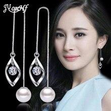 ФОТО jyouhf 2018 new arrival perfect cut cubic zirconia crystal earrings for women long ear line with pearl pendant tassel earrings