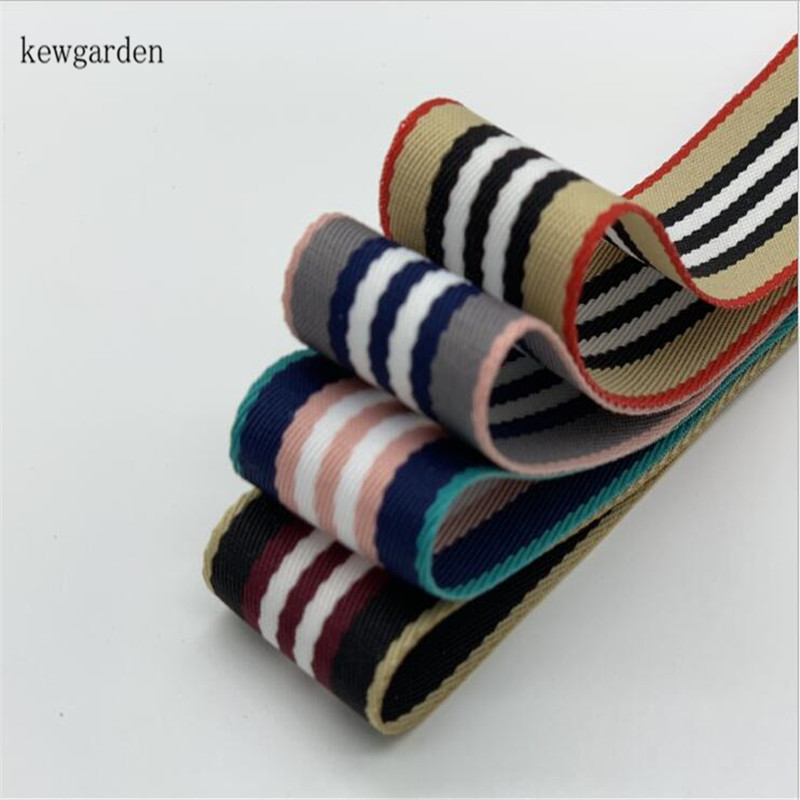 Kewgarden Wholesale 25mm 38mm 1 1 5 Stripe Polyester Ribbons Handmade Tape DIY Bowknot Ribbon Riband