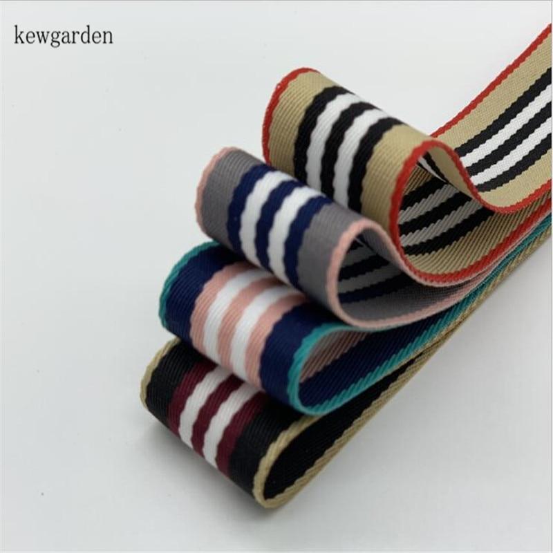 Kewgarden Wholesale 25mm 38mm 1 1 5 Stripe Polyester Ribbons Handmade Tape DIY Bowknot Ribbon Riband