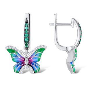 Image 3 - SANTUZZA Silver Earrings For Women 925 Sterling Silver Butterfly Earrings Silver Cubic Zirconia brincos Party Jewelry Enamel