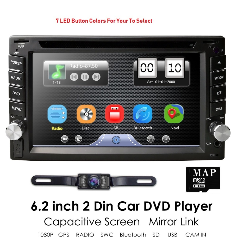 Nuovo! Universale 2Din In Dash Car DVD Player GPS Radio Stereo Touch screen BT USB Mirrorlink RDS 1080 p + Trasporto libero mappa card + macchina fotografica Libero