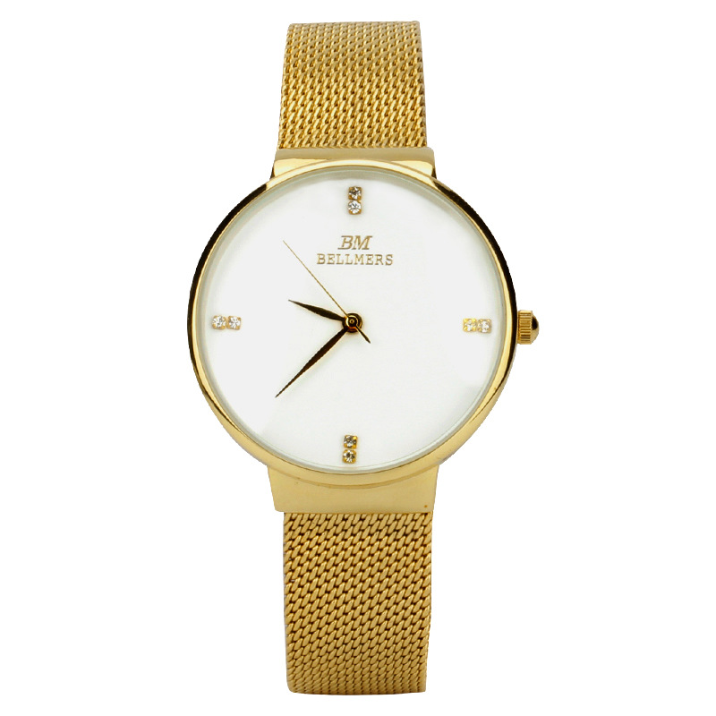 BELLMERS New Top Luxury Watch Men and women Brand Watches Ultra Thin Stainless Steel Mesh Quartz