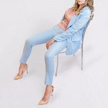 Danisyl 2017 women elegant baby blue office business work suits coat formal work wear uniform style