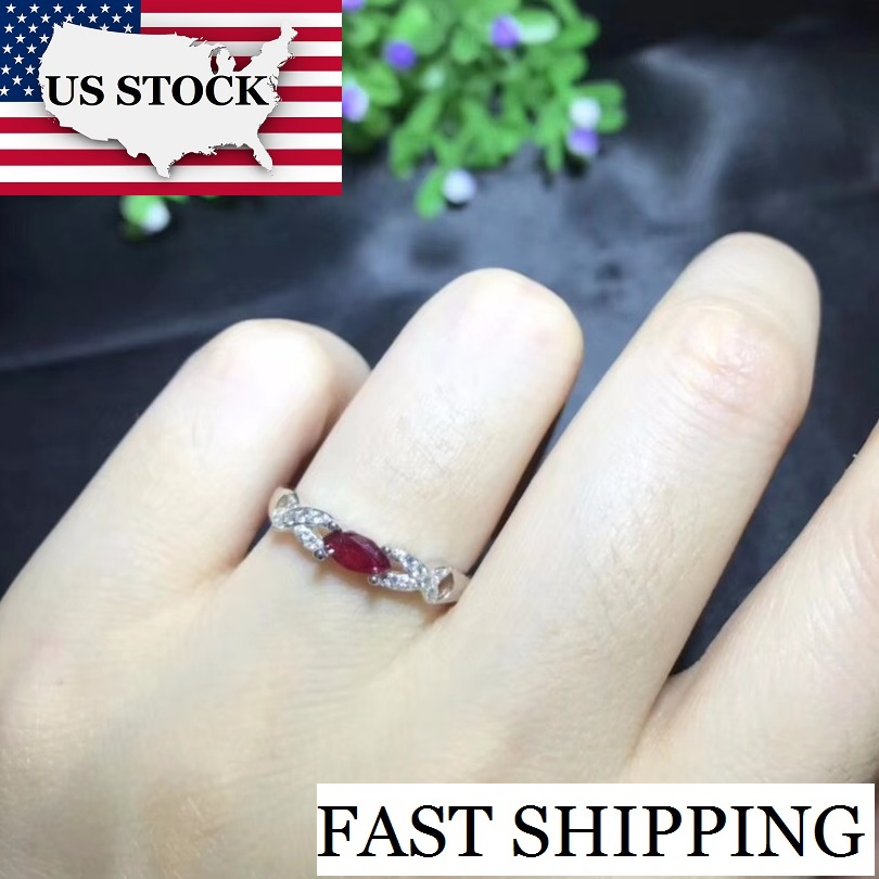 US STOCK Uloveido Ruby Ring for Wedding, 925 Sterling Silver, 3*6mm Certified Rhombus Gemstone Engagement Jewelry Women FJ220