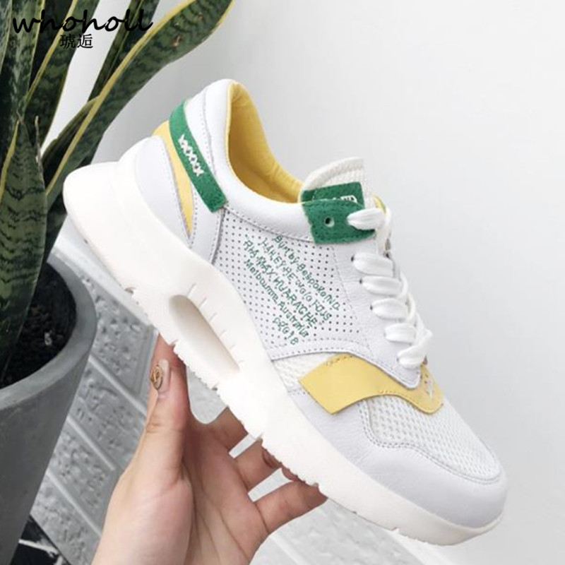 WHOHOLL Breathable Air Mesh Women Casual Shoes 2018 Spring Women Sneakers Shoes Lace Up Flat Outdoor Shoes Ladies tenis feminino 2018 hot sale summer flat shoes women comortable casual lace up flats breathable outdoor women shoes mesh zapatillas sneakers