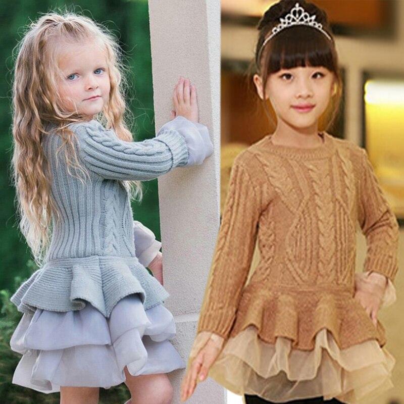 2019 Winter Autumn Girl Dress Children Clothes Kids Dresses For Girls Party Dress Long Sleeve Knitted Sweater Toddler Girl Dress