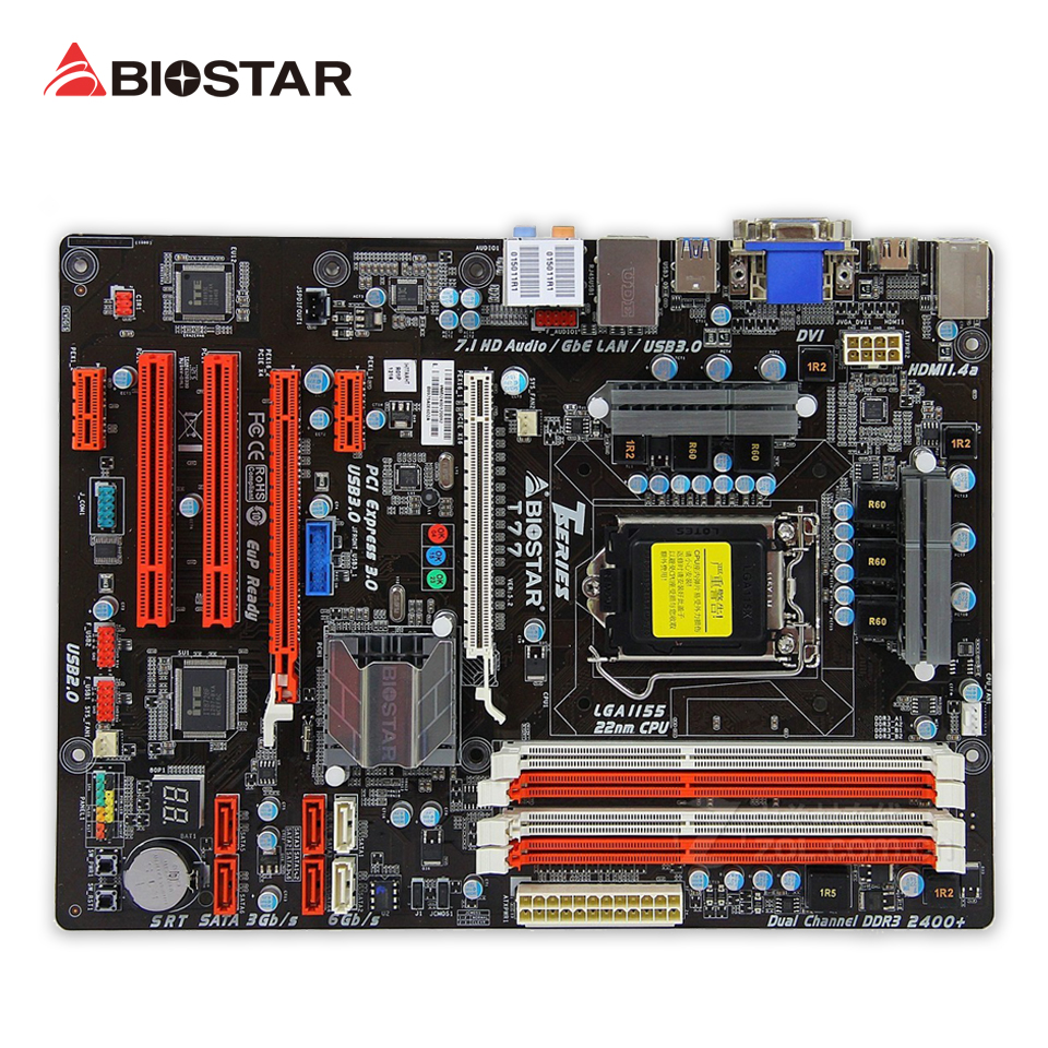 BIOSTAR T77 Original Used Desktop Motherboard H77 LGA 1155 DDR3 32G SATA3 USB3.0 ATX asrock h61m vg4 original used desktop motherboard h61 socket lga 1155 i3 i5 i7 ddr3 16g usb2 0 micro atx