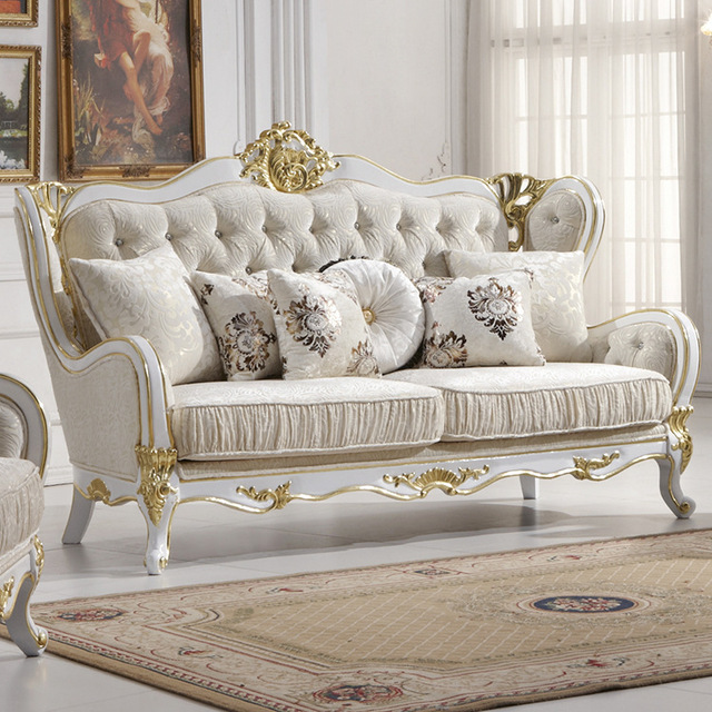 Classic Sofa Sater Slipcover Wholesale Europe Style Furniture Oak Wood Carving With Bar Series Fabric Cover L810