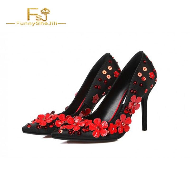 Printemps Dames Fsj01 Stiletto Floral Eveni Talon Pointu Grande 12 Talons 2018 Femmes Shoes11 Fsj Taille Et Bout 13 Rouge Pompes Autumnblack Chaussures wEq1pOXg