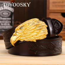 Designer Genuine Leather Men Belt with Eagle Hawk Head Buckle Belts for Carving Cow-skin Strap TOYOOSKY