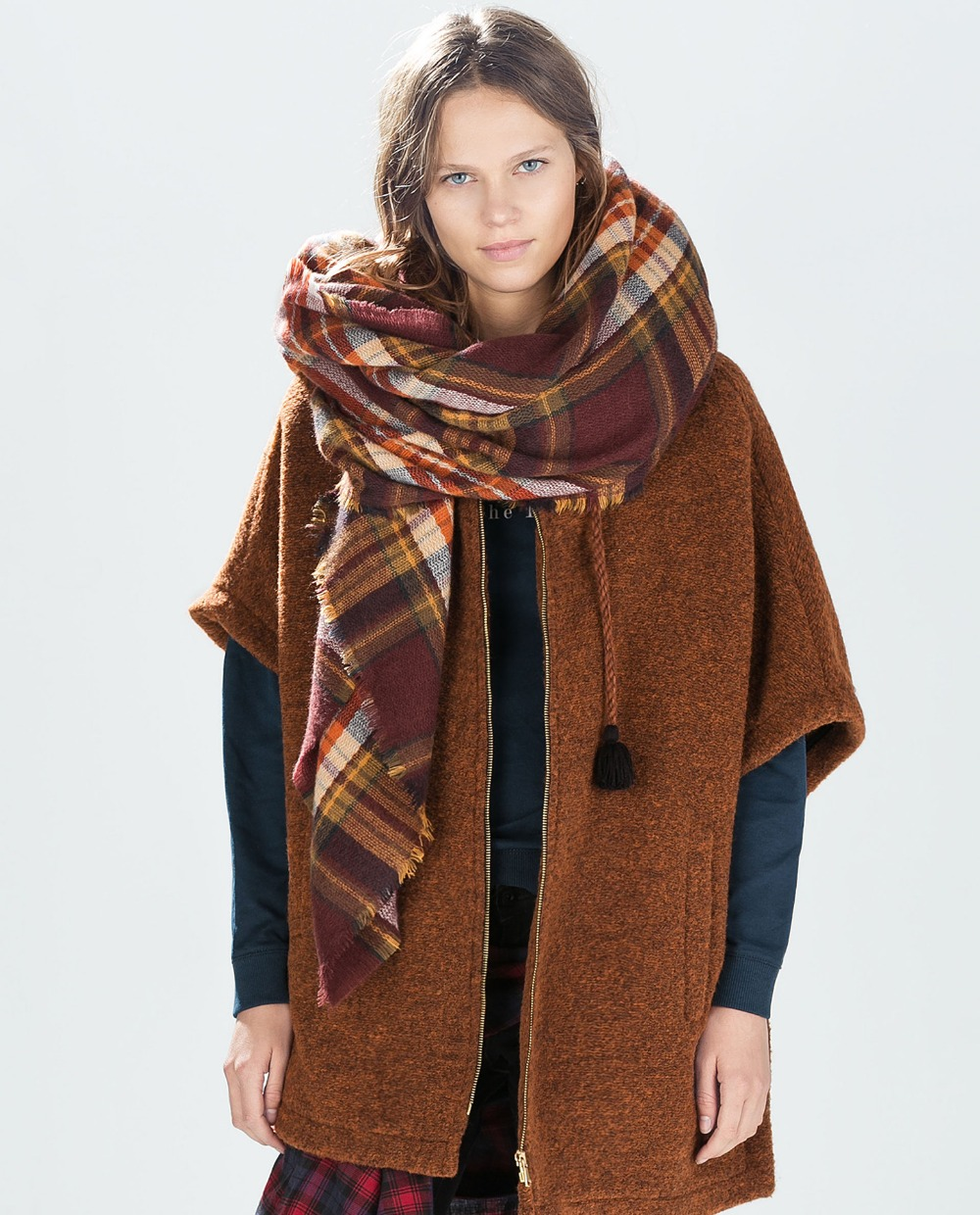 New design lady oversized Plaid chocolate brown large blanket   scarf     wraps   shawl
