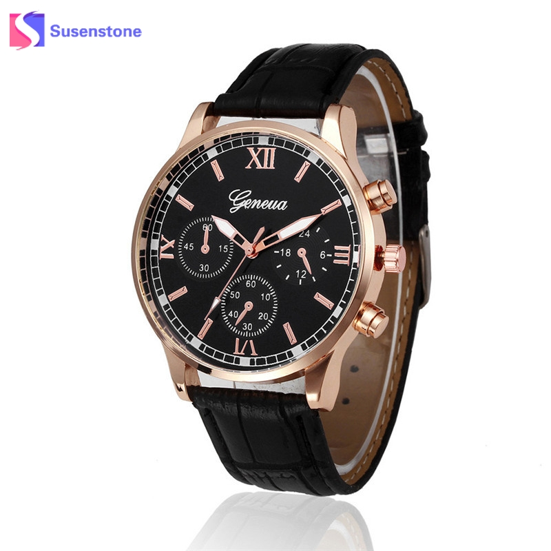 Retro Geneva Watch Men Fashion Leather Strap Analog Alloy Quartz Wrist Watch Male Clock Business Dress Watches relogio masculino powder for fuji xerox dp cm 225 mfp docuprint cm115 w docuprint cm225 mfp dp cp 115 w replacement cartridge toner cartridge