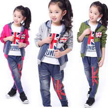 2014 Best Popular The Union Jack Flag Spring Children's Three Set: Coat, T-Shirt, Pants, Boy, Girls Coat, Clothing Sets