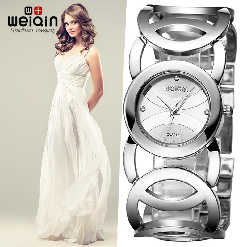 WEIQIN Silver Women Watches Luxury High Quality Water Resistant Montre Femme Stainless Steel 2017 Dress Woman Wrist Watches saat fine kimio silver women watches crystal clover love ladies watch stainless steel 2016 dress woman wrist watches montre femme