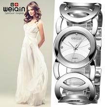 WEIQIN Mujeres de Plata Relojes Montre Femme reloj Resistente Al Agua de Acero Inoxidable de Lujo de Alta Calidad 2017 Vestido de la Muñeca de la Mujer Relojes saat