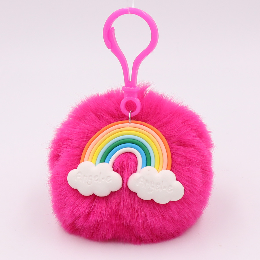 Objective Keyring Backpack Accessories Portable Jewelry Faux Rabbit Fur Key Chain Decoration Cute Cartoon Fashion Car Gifts Pendant Key Rings Automobiles & Motorcycles