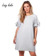 Lazy KoKo Women New Fashion Ruffle Sleeve Dress Solid Above Knee Dress Casual Big Size mini Dress Plus Size 3XL 4XL 5XL 6XL