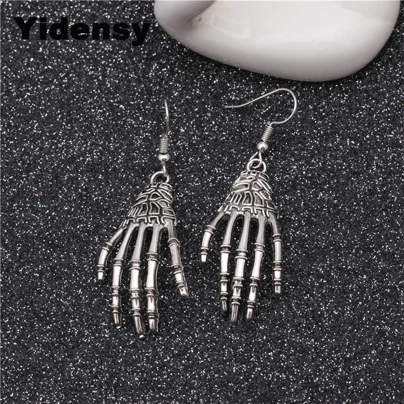 Yidensy Punk Metal Earring Halloween Day Vintage Carved Bone Skull Skeleton Hands Earrings Big Punk Men Women Ear Jewelry