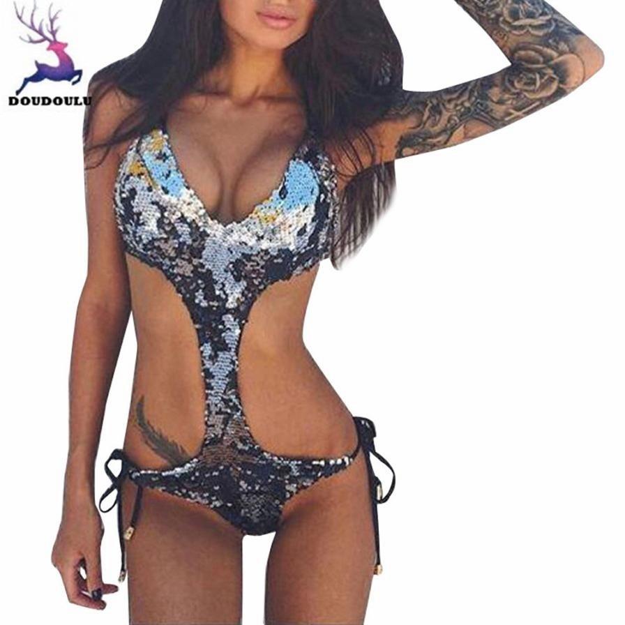 Winkelen Voor Goedkoop Doudoulu Pailletten Backless Vrouw Bikini Een Stuk Biquini Sexy Wasgoed Set Ondergoed Vrouwelijke Traje Badpakken Vrouwen Bikini 2018 # W
