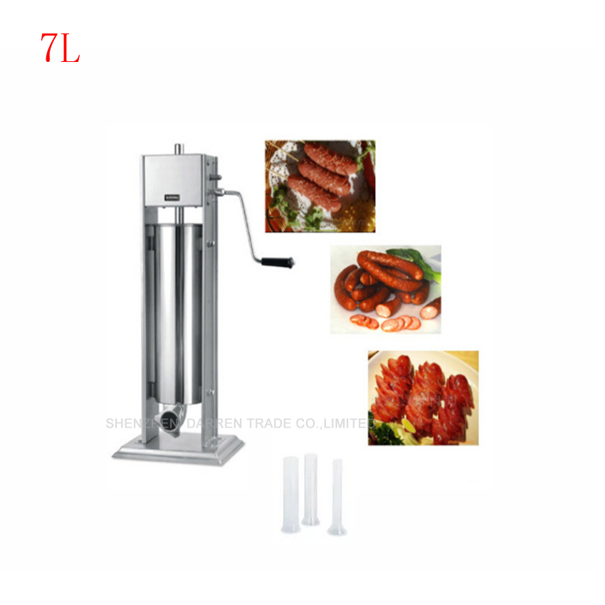 1PC 7L Commercial Manual Sausage filling machine stainless steel ship from germany 5l stuffer maker machine commercial sausage filling machine sausage stainless steel with 4 filling pipes