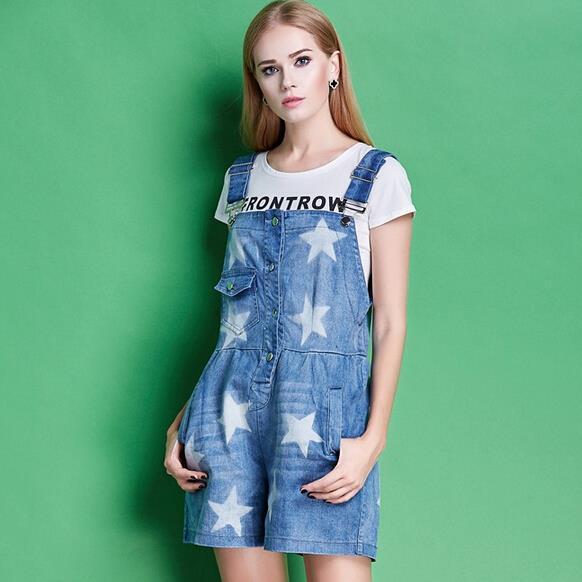 Europa estação de verão novas moda feminina padrão de estrela macacões Shorts JEANS denim cinta