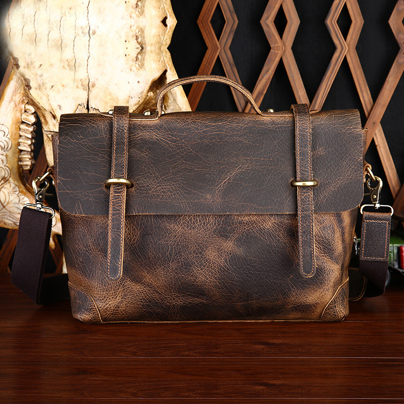 Genuine Leather Crazy Horse Business Man Top Handle Bag Hangbag Casual Totes Shoulder Messenger Bag Portable Postman Briefcase new men s crazy horse genuine leather messenger shoulder pack documents business portable clutch bag portable wrist bag