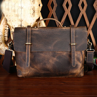 Genuine Leather Crazy Horse Business Man Top Handle Bag Hangbag Casual Totes Shoulder Messenger Bag Portable Postman Briefcase