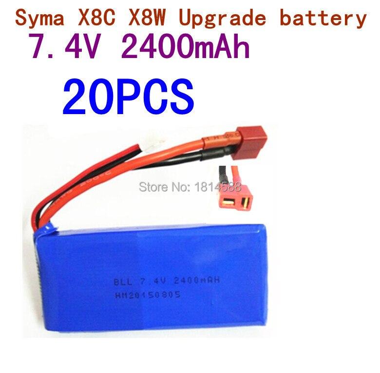 20 pcs SYMA X8 X8A X8C X8C-1 X8W X8G 7.4V 2400 mAh Li-po Battery RC Quadcopter X8C Spare Parts syma x8 x8c x8w x8g 2 4g rc drone quadcopter parts x8c 1 2 main body body shell 1set 2pcs lot free shipping