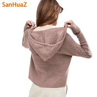 SanHuaZ Brand 2017 Autumn Winter Women S Sweaters Casual Fashion Hooded Long Sleeve Loose Women Pullovers