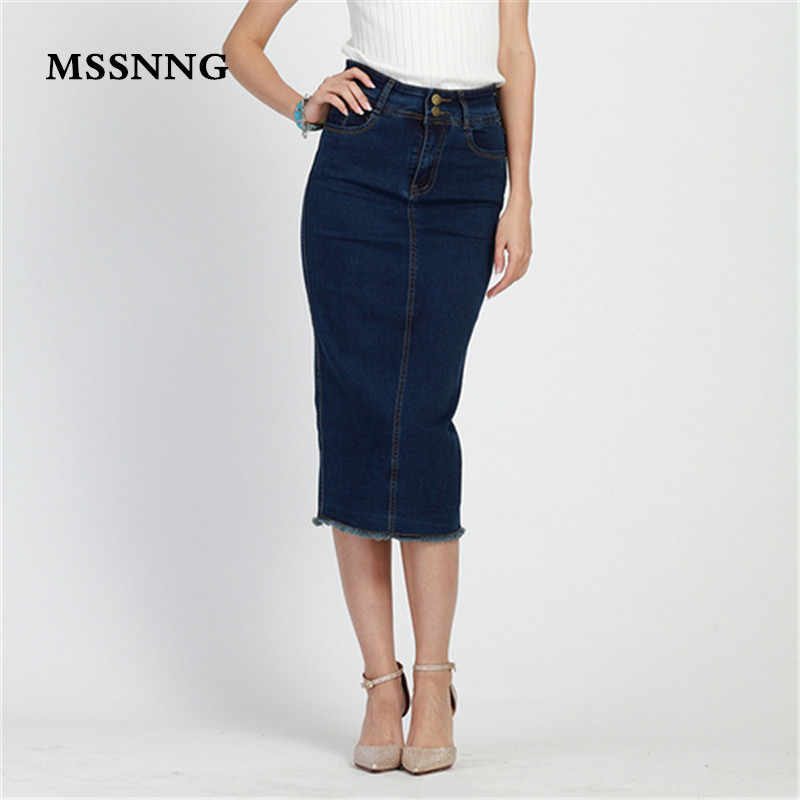 03ea7add3fb 2018 Denim Skirt Vintage Button High Waist Pencil Black Blue Slim Women  Skirts Plus Size S