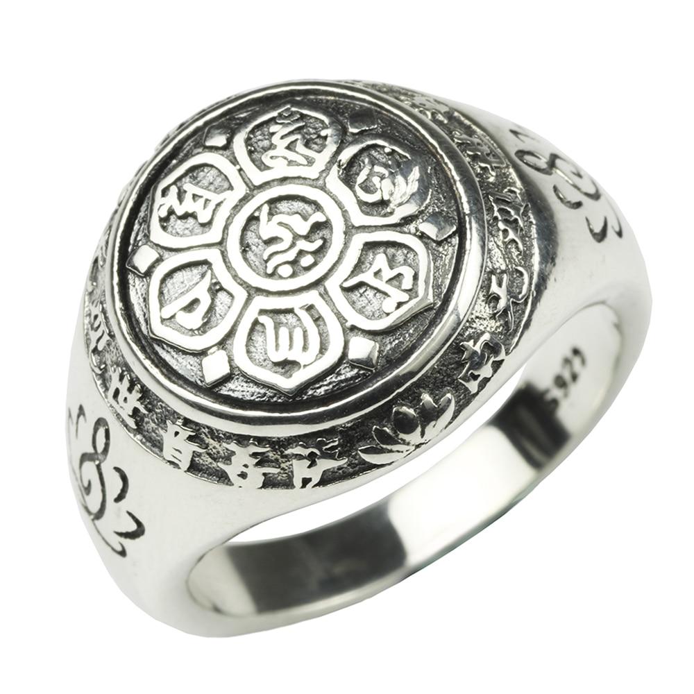Autentico 925 Sterling Silver Jewelry Vintage Buddha Sei Words' Mantra Anelli Per Le Donne E Gli Uomini Bigiotteria Multa