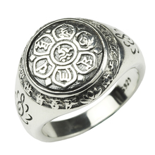 Real Solid 925 Sterling Silver Jewelry Vintage Buddha Six Words Mantra Rings For Women And Men
