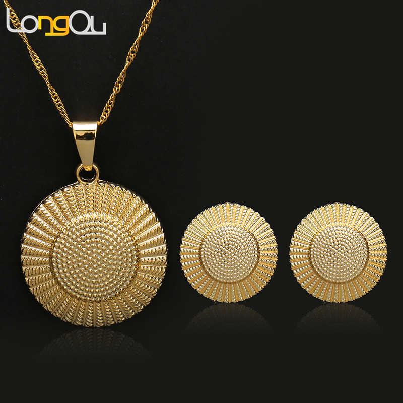 Kostenloser Versand Großhandel sommer stil gold ohrringe anhänger für frauen Hohe qualität rund Fashion Afrikanische perlen Schmuck