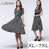 Echoine 1950s Audrey Hepburn Vintage Dress Polka Dot Short Sleeve Knee Length Cardigan Shirt Dress Rockabilly