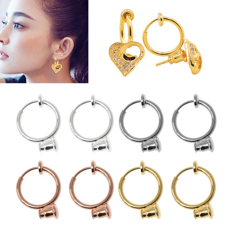 ANGELADY 1 Pair Clip On Hoop Earring Converters No-pierced Turn Any Stud Into A Clip-On Women Jewelry Findings Parts