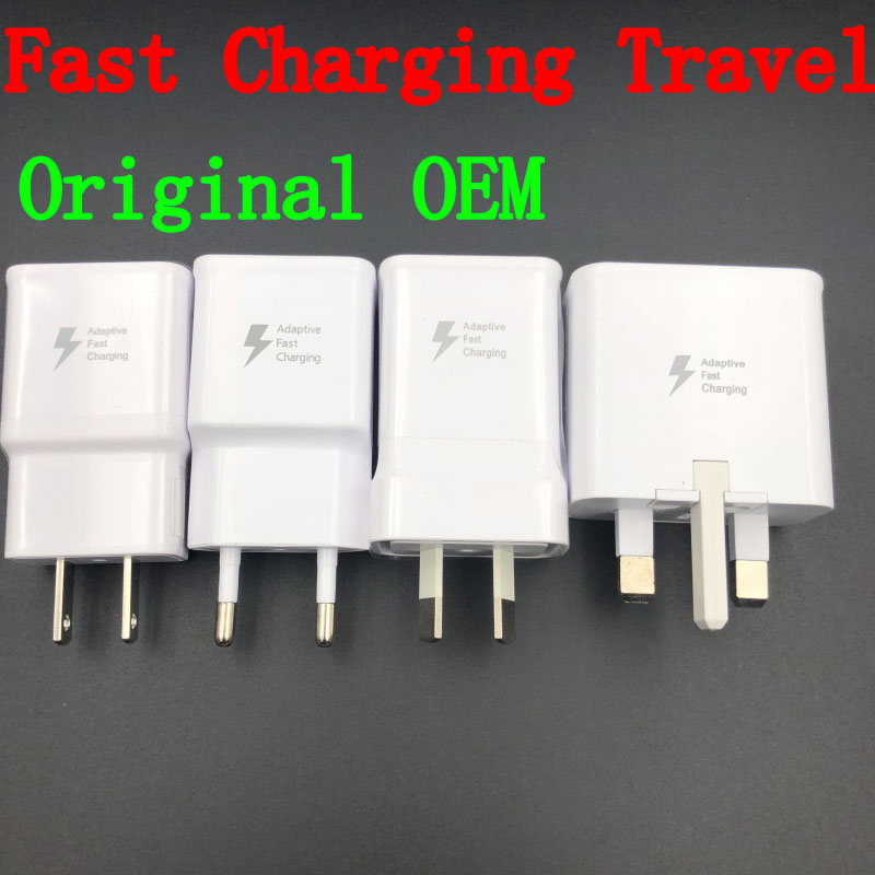 100PCS Original OEM 9V-1.67A 5V 2A US/EU/AU/UK Plug Fast Charging Travel adapter Wall Fast Charger For S6 S7 S8 plus Black/white