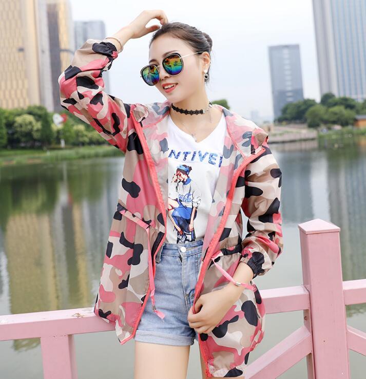 Womens summer thin sunscreen coat ladys camouflage color Windbreaker Waterproof hooded zipper jacket R212