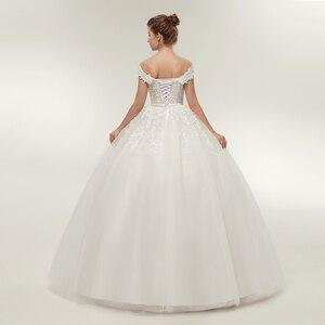 Image 3 - Fansmile Vestido de novia de talla grande, Encaje Vintage, Bola de tul, personalizado, Envío Gratis FSM 141F, 2020