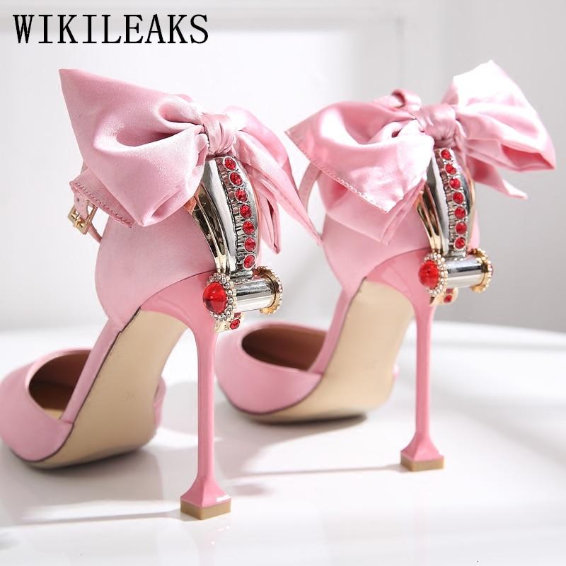 Italien rose extreme talons hauts chaussures sandales femmes chaussures de créateur femmes de luxe 2019 sexy pompes chaussures pour femmes de mariée chaussures de mariage