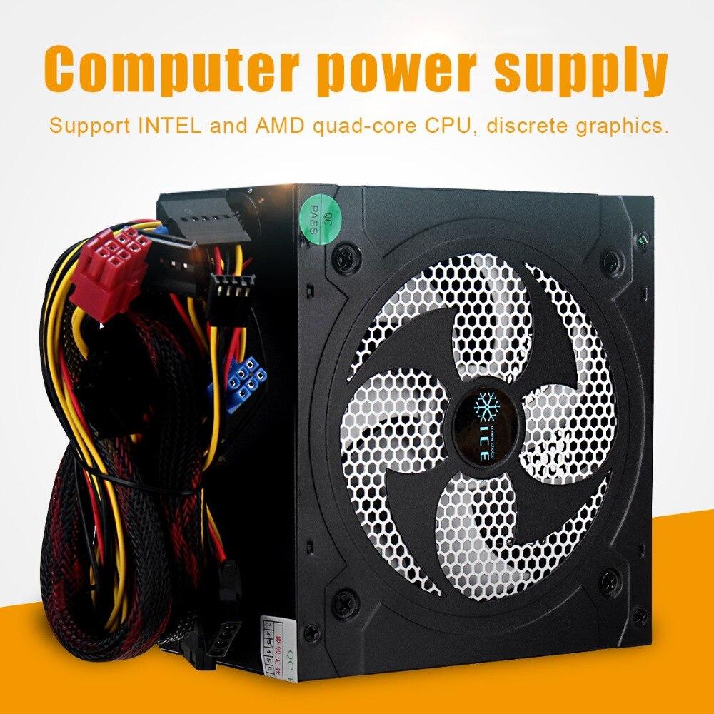 Alimentación de escritorio 500 W Conmutación de energía silenciosa 12 V ATX BTC fuente de alimentación SATA 20PIN + 4PIN fuente de alimentación chasis de ordenador para Intel AMD PC