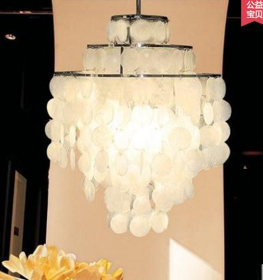 Işıklar ve Aydınlatma'ten Kolye ışıkları'de Modern Moda Serisi kabuk Kolye Işık Oturma Odası için D40cm asılı ışık title=