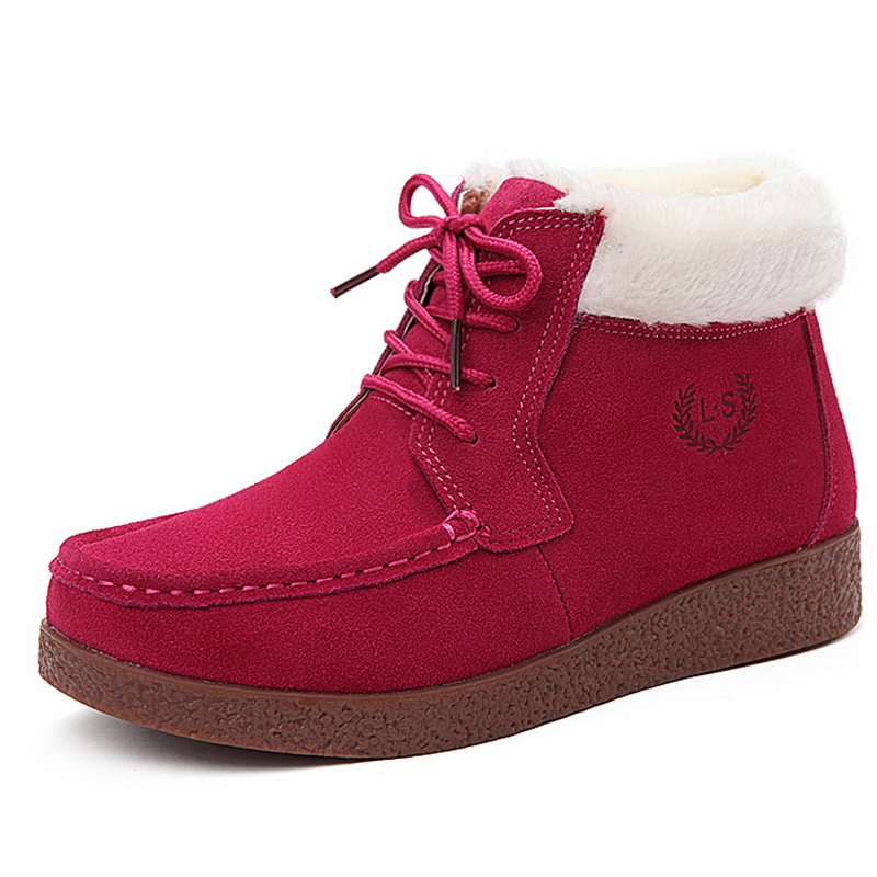 ФОТО 2016 New Winter Genuine Leather Women Snow Boots England Style Women Cotton Padded Ankle Boots Non-Slip Flat Shoes