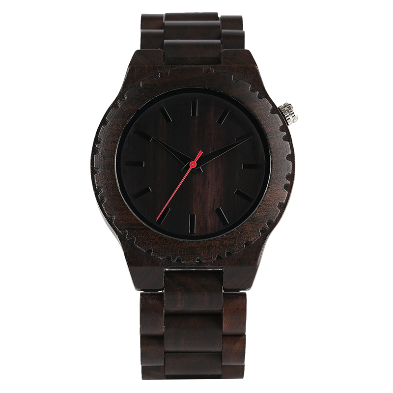 Creative Ebony Full Wooden Watch Bamboo Fold Clasp Modern Nature Analog Quartz Mens Wristwatch Reloj Hombre Clock hand made mens wooden bamboo quartz watch black genuine leather watchband simple unique modern wristwatch gift for male female