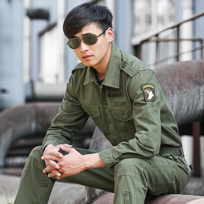 Men's 101 Airborne Division Safari Shirts Military Cargo Shirts Tactical Clothes Mens Army Bomber Flight Tops Shirts